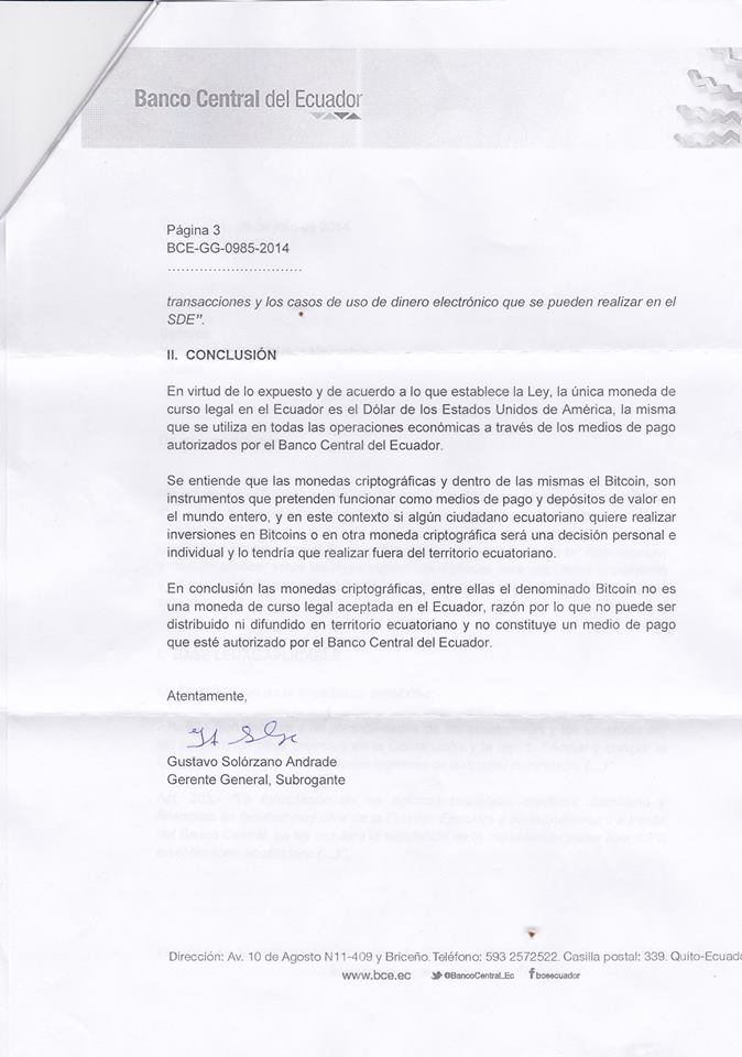 Response letter from Central Bank of Ecuador.