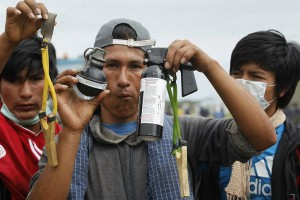 Bolivian police used tear gas to break up the crowd of Guaraní protesters.