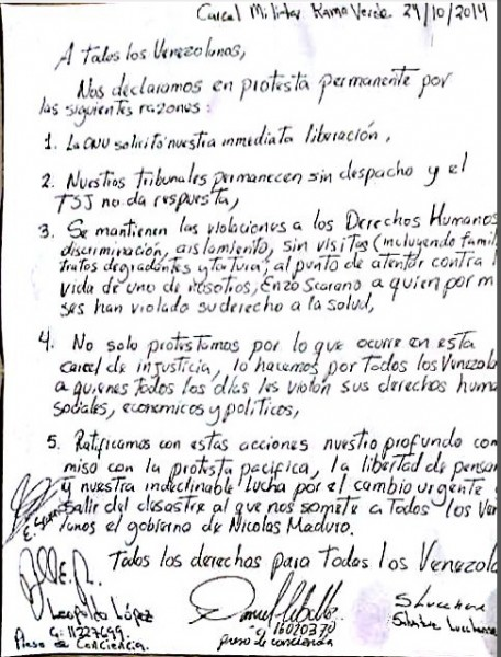 López, Ceballos, Scarano, and Lucchese wrote a letter from jail explaining why they continue to protest.