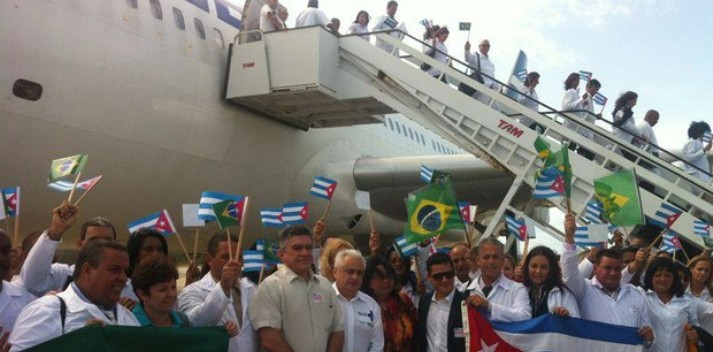 A contingent of Cuban doctors arrive in Brazil in 2013.