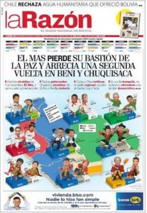 The front page of Bolivia daily <em>La Razón</em> showing the electoral results