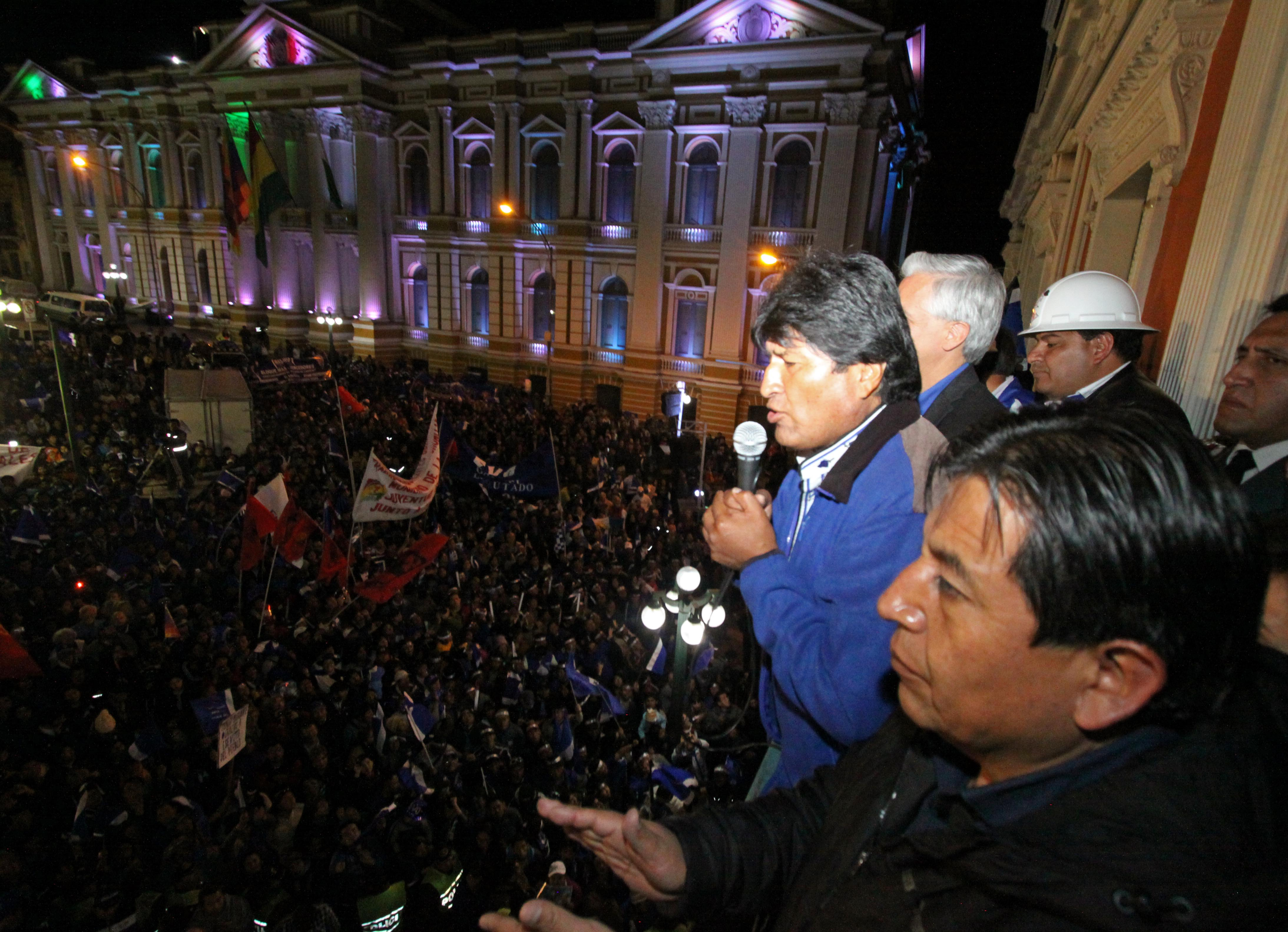 "Bolivia's President Evo Morales dedicate his win to ""anti-imperialists and anti-colonialists."""