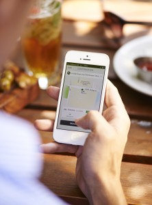 Uber allows users to request a taxi through a smartphone application.