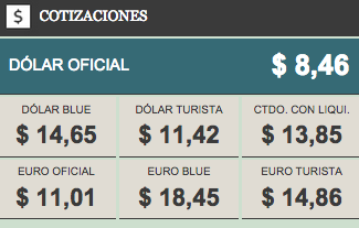 The value of the dollar and the euro are published daily in the majority of Argentinean newspapers.