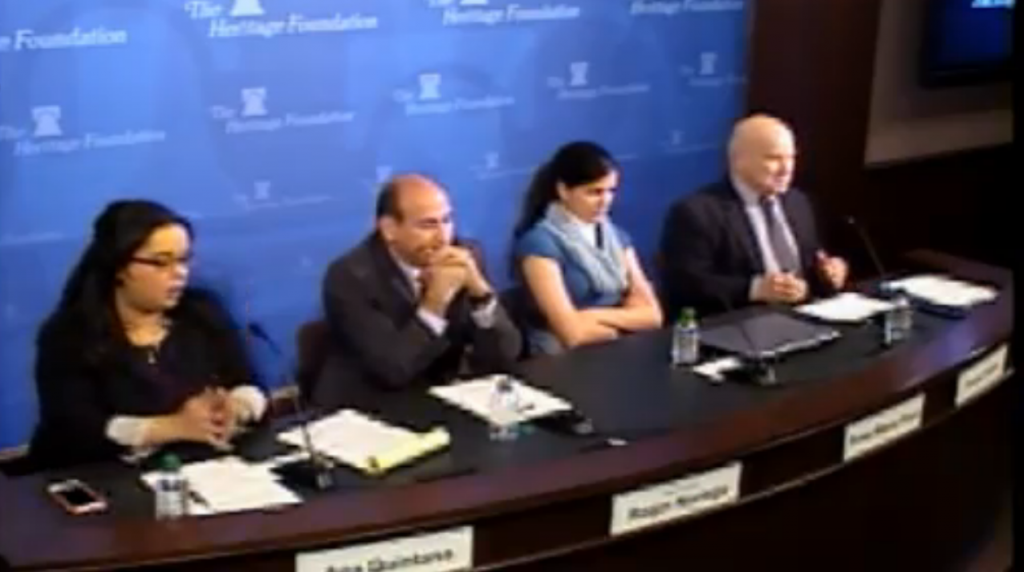 Ana Quintana, Heritage Foundation staff, Roger Noriega, Rosa María Paya, and Frank Calzón discuss the ongoing diplomatic talks between Cuba and the United States.