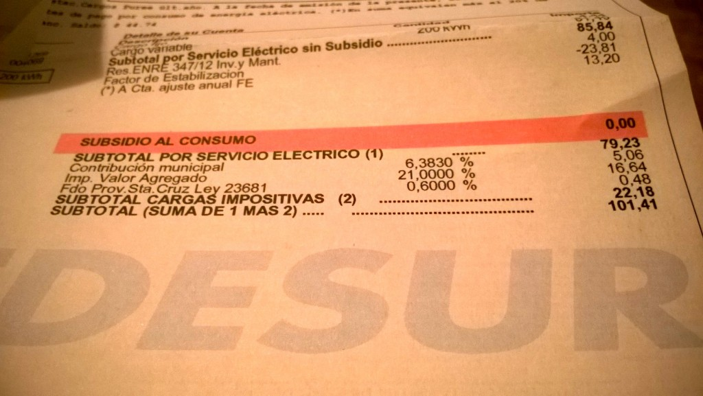 Argentina customer energy bill with no subsidies
