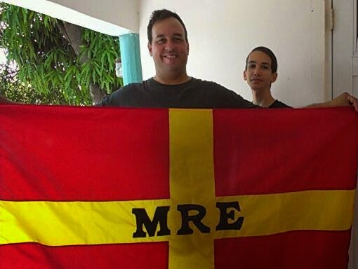 José Nieves, founder of the RPE movement, with its official flag