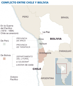 Dispute between Chile and Bolivia. (El País)