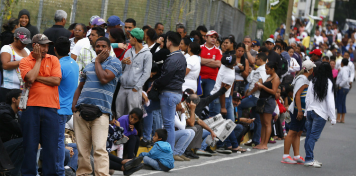 A woman in Venezuela had to give birth in line