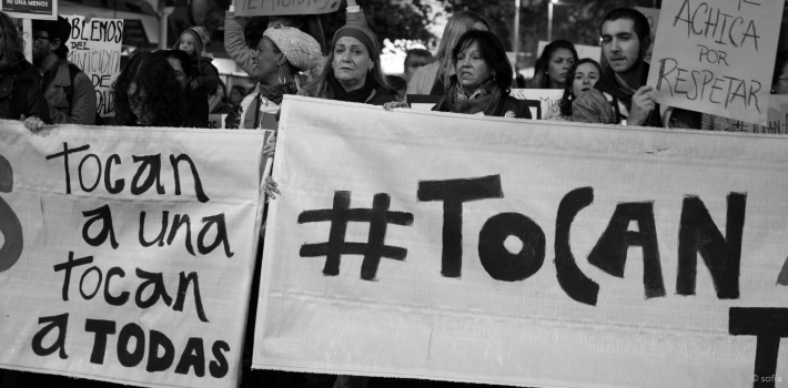 Feminist protestors in Montevideo, Uruguay, call for an end to gender-based violence.