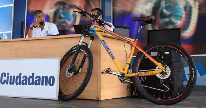 "Rafael Correa's plan to auction a US$1,200 bike is an insincere attempt to ""help the poor."""