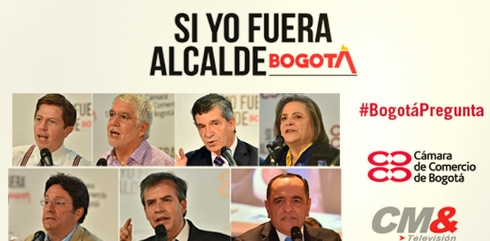 Daniel Raisbeck (top left) is the first libertarian candidate to run for mayor in Bogotá, Colombia.