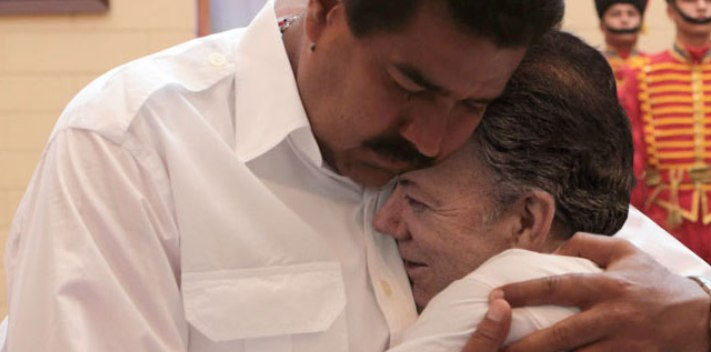 In May 2013, Santos and Maduro share a warm embrace.