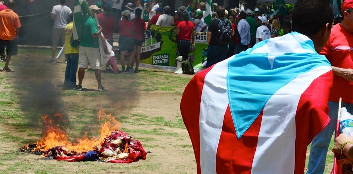 Puerto Rican independence activists in San Juan burned the US flag in protest.