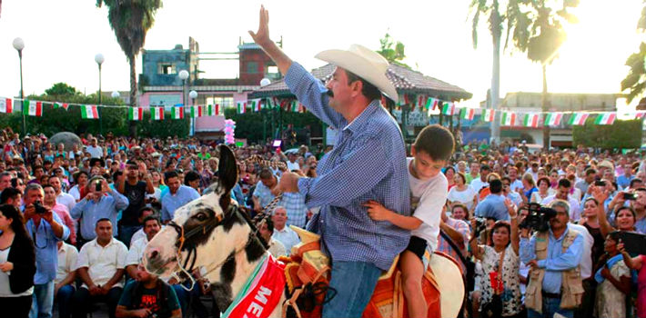 The mayor became famous across Mexico last year when he arrived at a public event riding a horse and throwing bills to the audience.
