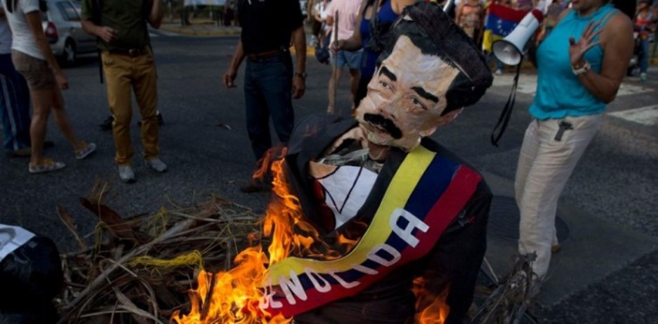 Burning Effigies of President Nicolás Maduro