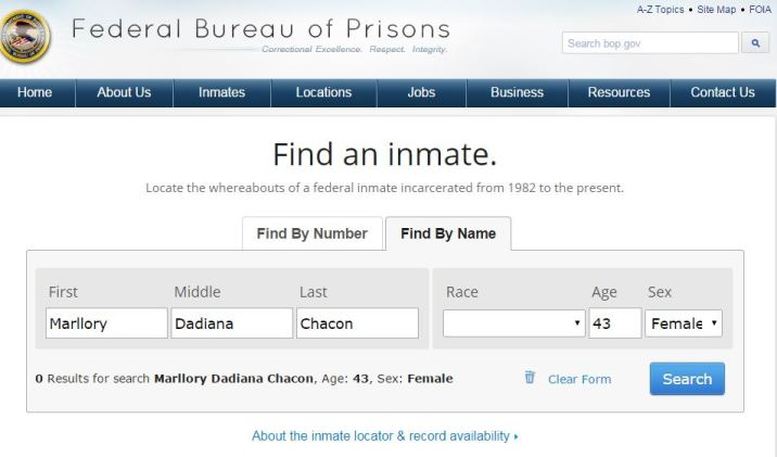 The US Federal Bureau of Prisons does not show Marllory Chacón's public records.