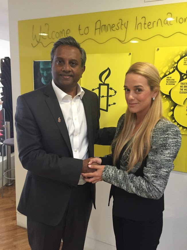 Lilian Tintori thanked Amnesty International's Salil Shetty for the support the organization has shown Leopoldo López's case