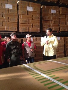 Maduro at one of the warehouses raided on Thursday.