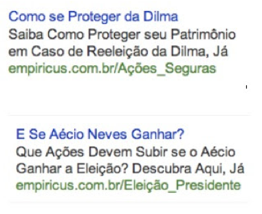 Example of ads by Empiricus in Google.