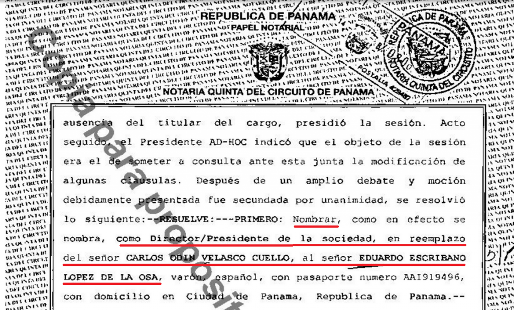Document that allegedly removed Carlos Odín Velazco as director of Tecnobreaks Inc.